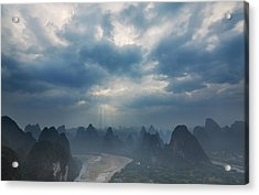 Acrylic Print featuring the photograph Cloudy Sunset In Guilin Guangxi China by Afrison Ma