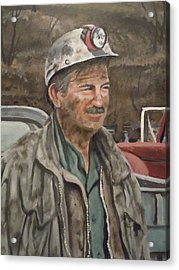 Acrylic Print featuring the painting Coal Miner At Isabella Mine by James Guentner