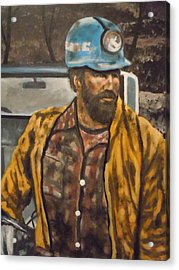 Acrylic Print featuring the painting Coal Miner At Mariana Mine by James Guentner