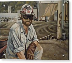 Acrylic Print featuring the painting Coal Miner At Vestaburg Mine by James Guentner