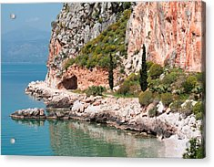 Acrylic Print featuring the photograph Coastline Of Greece by Shirley Mitchell