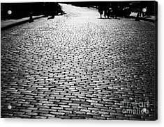 Cobblestoned Street On The Royal Mile Edinburgh Scotland Uk United Kingdom Acrylic Print by Joe Fox