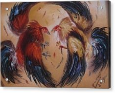 Cock Fight Acrylic Print by Pretchill Smith