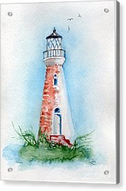 Acrylic Print featuring the painting Cockspur Lighthouse 2 by Doris Blessington