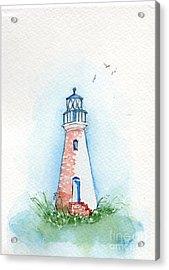Acrylic Print featuring the painting Cockspur Lighthouse by Doris Blessington