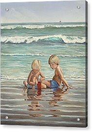 Cocoa Beach Sandcastles Acrylic Print by AnnaJo Vahle