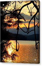 Coeur D'alene Lake Sunset Acrylic Print by Cindy Wright
