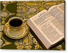Coffee And Bible Acrylic Print by Trudy Wilkerson