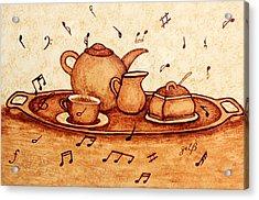 Coffee Break 2 Coffee Painting Acrylic Print by Georgeta  Blanaru