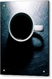 Coffee Cup On Stainless Steel. Acrylic Print by Ballyscanlon