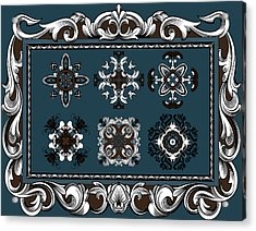 Coffee Flowers Ornate Medallions 6 Piece Collage Mediterranean Acrylic Print by Angelina Vick