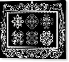 Coffee Flowers Ornate Medallions Bw 6 Piece Collage Framed  Acrylic Print by Angelina Vick