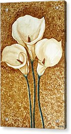 Coffee Painting - Flowers Acrylic Print by Rejeena Niaz