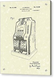 Coin Operated Casino Machine 1938 Patent Art Acrylic Print by Prior Art Design