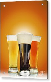 Cold Alcohol Beer Drinks On Gold Acrylic Print by Angela Waye