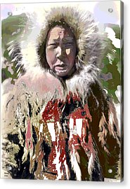 Acrylic Print featuring the mixed media Cold Man by Charles Shoup