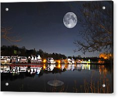 Cold Winter's Night On Boathouse Row Acrylic Print by Elaine Plesser