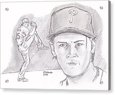 Acrylic Print featuring the drawing Cole Hamels by Chris  DelVecchio