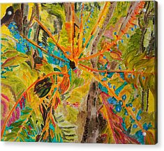 Collage Of Leaves Acrylic Print by Meryl Goudey