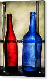 Collector - Bottles - Two Empty Wine Bottles  Acrylic Print by Mike Savad
