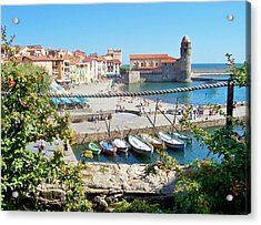 Collioure From Knights Of Templar Castle Acrylic Print by Marilyn Dunlap