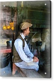 Colonial Man In Kitchen Acrylic Print by Susan Savad