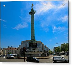 Colonne De Juillet And Opera De Paris Bastille Acrylic Print by Louise Heusinkveld