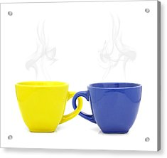 Color Cup With Hot Drink On White Background Acrylic Print by Natthawut Punyosaeng