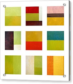 Color Study Abstract Collage Acrylic Print by Michelle Calkins