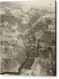 Colorado River And Grand Canyon In Monochrome Acrylic Print by M K  Miller