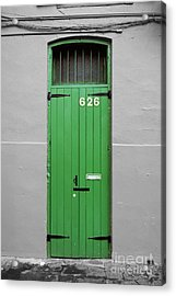 Colorful Arched Doorway French Quarter New Orleans Color Splash Black And White Acrylic Print