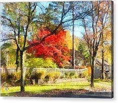 Colorful Autumn Street Acrylic Print by Susan Savad
