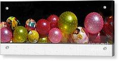Colorful Balls In The Shop Window Acrylic Print by Ausra Huntington nee Paulauskaite