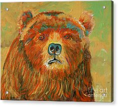 Acrylic Print featuring the painting Colorful Bear by Jeanne Forsythe