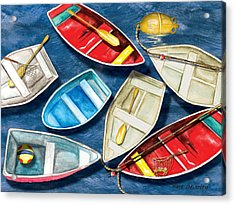 Acrylic Print featuring the painting Colorful Boats by Anne Beverley-Stamps