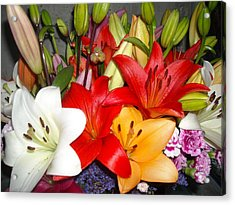 Colorful Bouquet Of Lilies - Lilium Acrylic Print by Liliana Ducoure