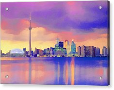 Acrylic Print featuring the digital art Colorful City Scape by Walter Colvin