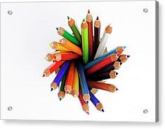 Colorful Crayons In Jar Acrylic Print by Sami Sarkis