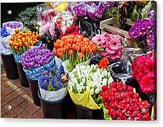 Colorful Flower Market Acrylic Print by Cheryl Davis