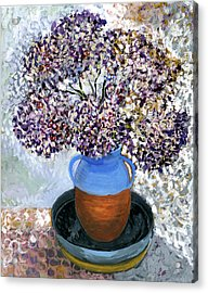 Colorful Impression Of Purple Flowers In Blue Brown Ceramic Vase Yellow Plate With Green Branches  Acrylic Print by Rachel Hershkovitz