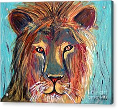 Acrylic Print featuring the painting Colorful Lion by Jeanne Forsythe