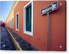 Colorful Narrow Street With A Sign Acrylic Print by George Oze