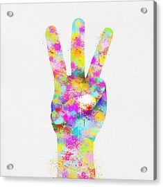 Colorful Painting Of Hand Point Three Finger Acrylic Print by Setsiri Silapasuwanchai