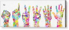 Colorful Painting Of Hands Number 0-5 Acrylic Print by Setsiri Silapasuwanchai