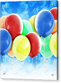 Colorful Party Celebration Balloons In Sky Acrylic Print by Angela Waye
