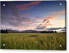Colorful Sunset Over The High Peaks Wilderness In Adirondack Park - New York Acrylic Print by Brendan Reals