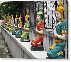 Colorful Thai Buddhist Wat Angels Acrylic Print by Gary Heiden