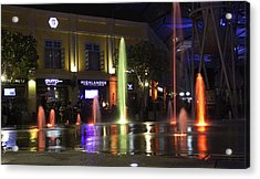 Colorful Water Jets At Clarke Quay In Singapore Acrylic Print by Ashish Agarwal