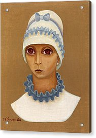 Colorful Young Woman Brown Eyes Blue White Hat Collar  With Ribbon Small Lips Acrylic Print by Rachel Hershkovitz