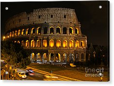 Colosseum By Night Acrylic Print by Chris Hill